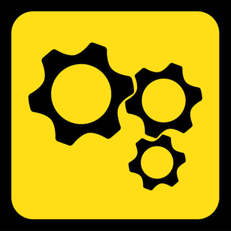 yellow rounded square information road sign with black three cogwheel icon and frame Illustration