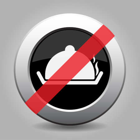 banned: Black and gray metallic button with shadow. White serving tray with lid and smoke banned icon.