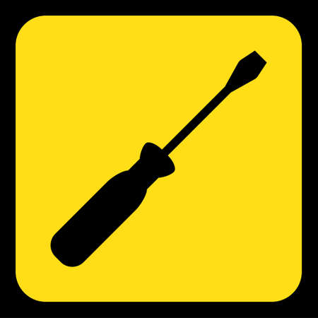 yellow rounded square information road sign with black screwdriver icon and frame