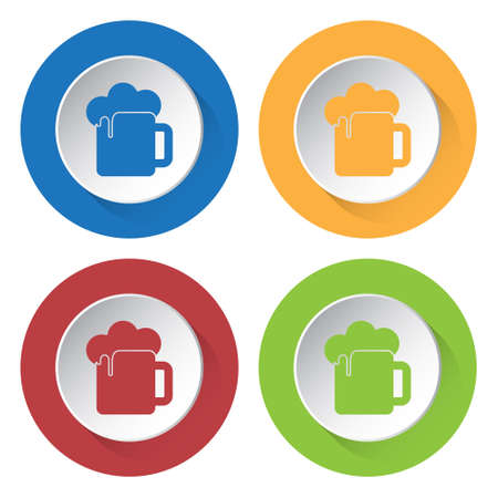 beers: Set of four round colored buttons and icons