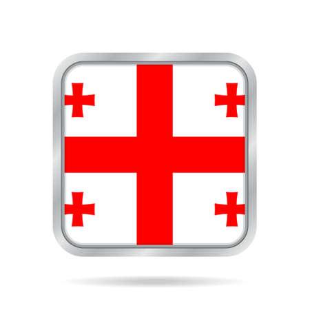 georgian: National flag of Georgia. Shiny metallic gray square button with shadow.