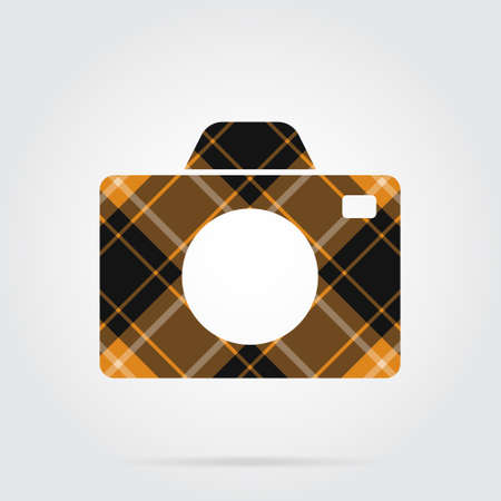 Orange, black isolated icon with white stripes - camera
