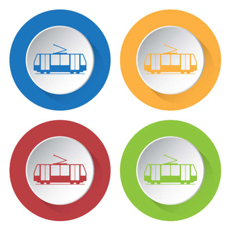 tramcar: Set of four round colored buttons and icons. Tram, streetcar.