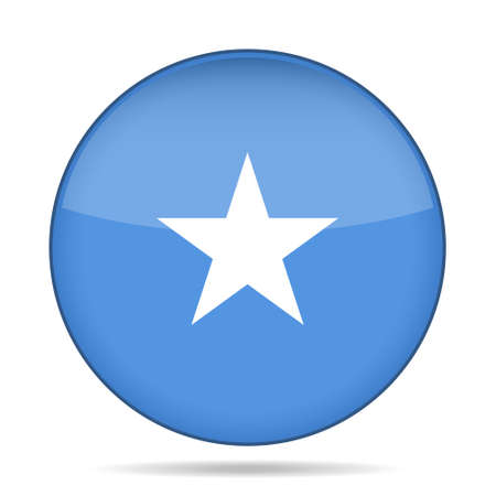 National flag of Somalia. Shiny round button with shadow. Illustration