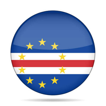 verde: National flag of Cape Verde. Shiny round button with shadow.