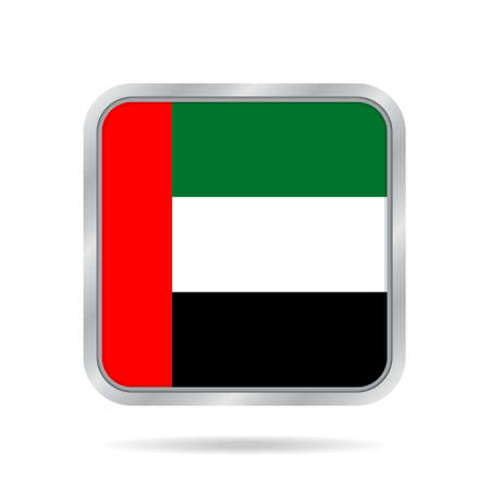 National flag of United Arab Emirates. Shiny metallic gray square button with shadow. Illustration