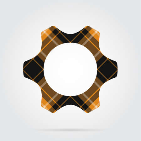 Orange, black isolated tartan icon with white stripes - cogwheel and shadow in front of a gray background