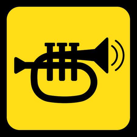 黄色の丸い黒トランペット、音と 2 つの振動波のアイコンとフレーム正方形情報道路標識  イラスト・ベクター素材