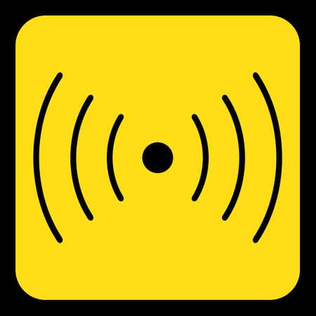 黄色丸い黒い音や振動のシンボル アイコンとフレーム正方形情報道路標識