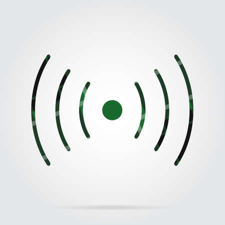 Green, black isolated tartan icon with white stripes - sound or vibration symbol and shadow in front of a gray background