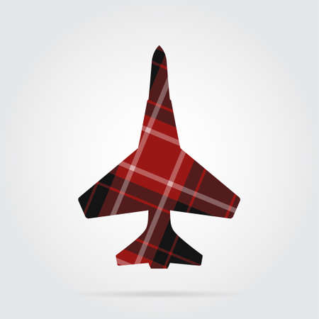 Red, black isolated tartan icon with white stripes - fighter and shadow in front of a gray background Illustration