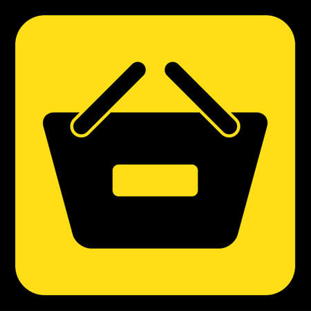 yellow rounded square information road sign with black shopping basket minus icon and frame Illustration
