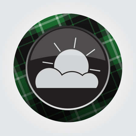 rounded circular: black isolated button with green, black and white tartan pattern on the border - light gray weather partly cloudy icon in front of a gray background