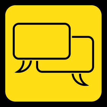 roadsign: yellow rounded square information road sign - black two outline speech bubbles icon and frame