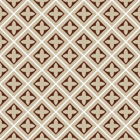 cloverleaf: seamless illustration, brown, beige square tile pattern with cloverleafs and diagonal lines Illustration
