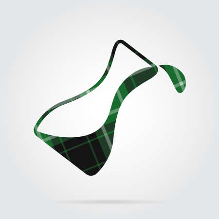 green, black isolated tartan icon with white stripes - flask with a drop and shadow in front of a gray background