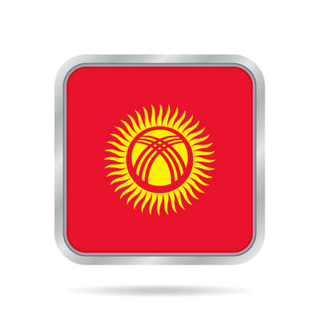 kyrgyzstan: National flag of Kyrgyzstan. Shiny metallic gray square button with shadow. Illustration