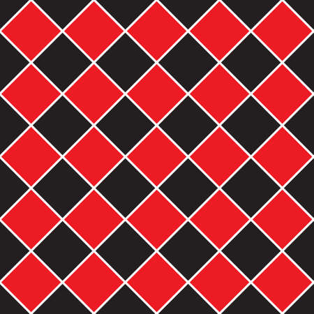 seamless illustration - red, black rhombus tile pattern with diagonal white lines Illustration