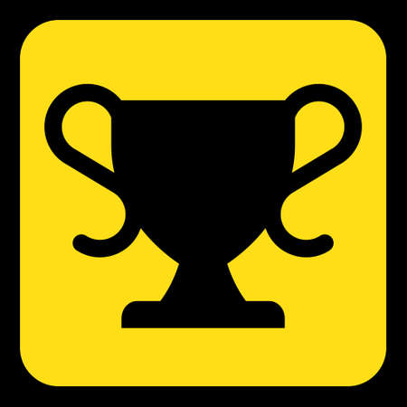 roadsign: yellow rounded square information road sign with frame - black sports cup icon