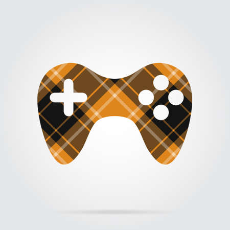 orange, black isolated tartan icon with white stripes - gamepad and shadow in front of a gray background
