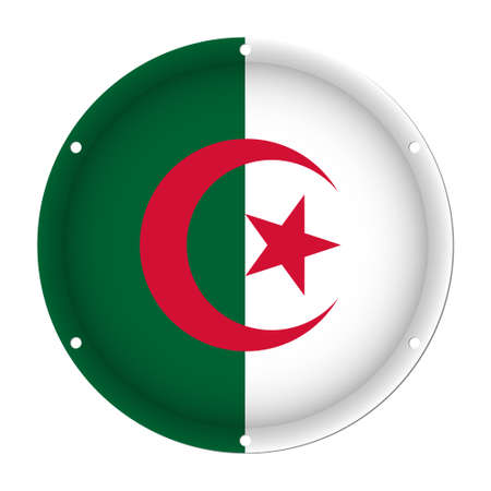 round metallic flag of Algeria with six screw holes in front of a white background