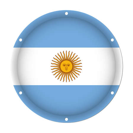 round metallic flag of Argentina with six screw holes in front of a white background