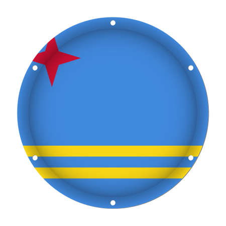 six objects: round metallic flag of Aruba with six screw holes in front of a white background