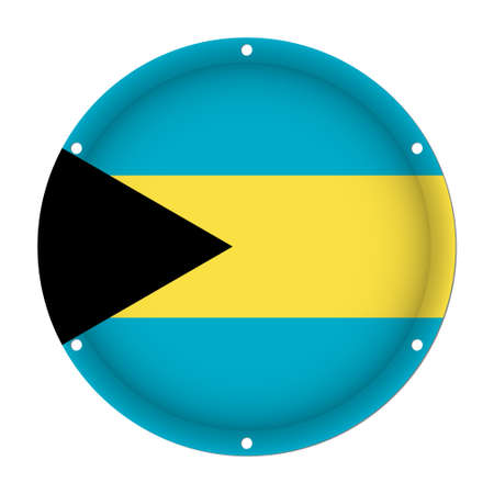 round metallic flag of Bahamas with six screw holes in front of a white background