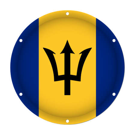 round metallic flag of Barbados with six screw holes in front of a white background