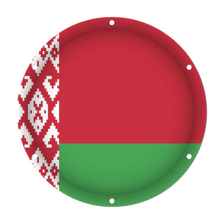 sheet metal: round metallic flag of Belarus with six screw holes in front of a white background