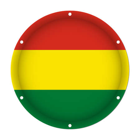 six objects: round metallic flag of Bolivia with six screw holes in front of a white background
