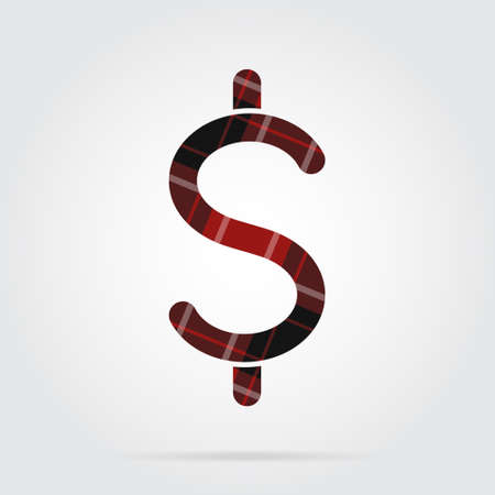 red, black isolated tartan icon with white stripes - dollar currency symbol and shadow in front of a gray background