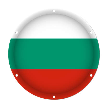 round metallic flag of Bulgaria with six screw holes in front of a white background