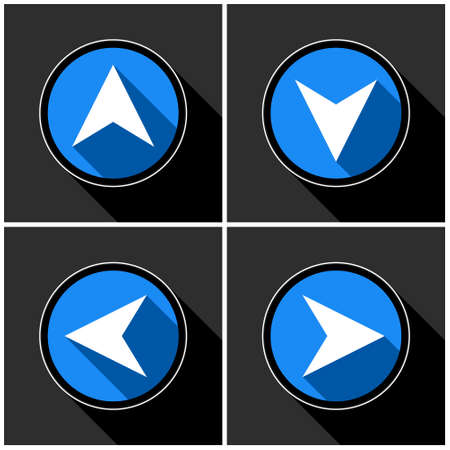 four white, blue arrows with black shadows in different directions in front of a dark gray background