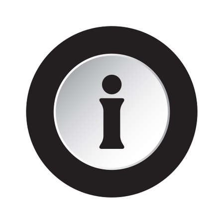 round isolated black and white button with black information symbol icon Illusztráció