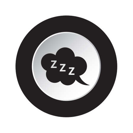 round isolated black and white button with black ZZZ speech bubble icon