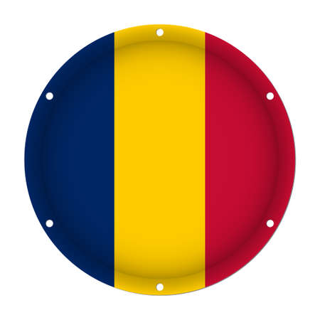 round metallic flag of Chad with six screw holes in front of a white background Illustration