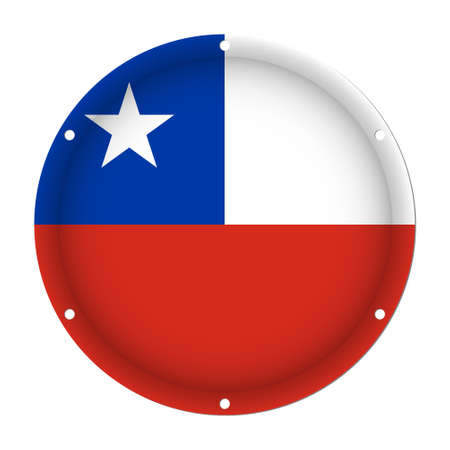 six objects: round metallic flag of Chile with six screw holes in front of a white background