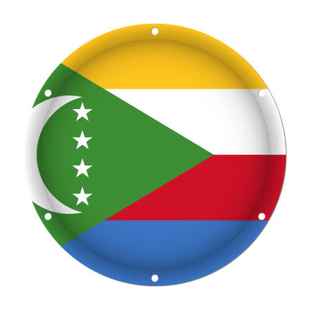 round metallic flag of Comoros with six screw holes in front of a white background