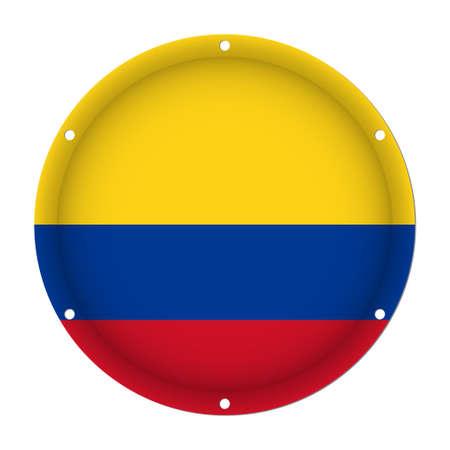 Bandera metálica ronda de Colombia con seis agujeros de tornillo delante de un fondo blanco Foto de archivo - 82320920