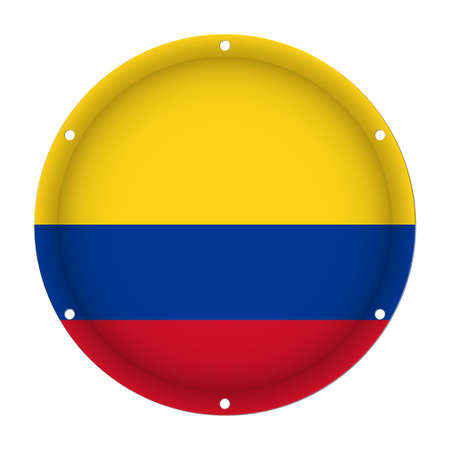 round metallic flag of Colombia with six screw holes in front of a white background