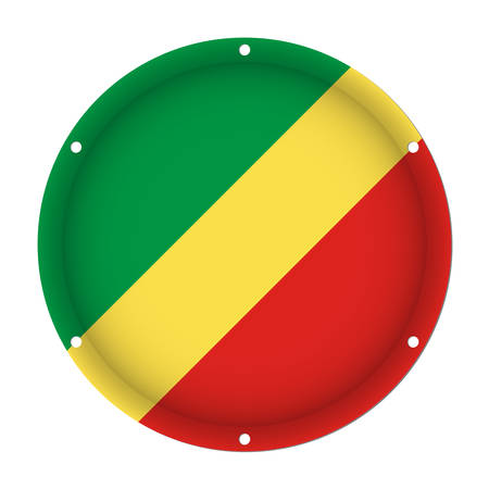 chrome: round metallic flag of Congo with six screw holes in front of a white background