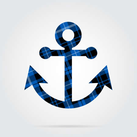 checker: blue, black isolated tartan icon with white stripes - boat anchor and shadow in front of a gray background