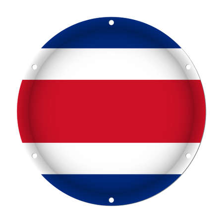 round metallic flag of Costa Rica with six screw holes in front of a white background Ilustração