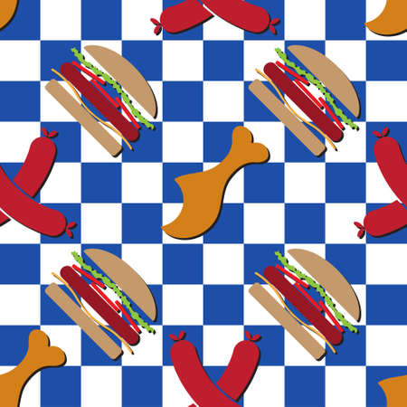 seamless pattern illustration, colored hamburgers, gnawed chicken legs and sausages with shadows - in front of a blue, white chessboard background