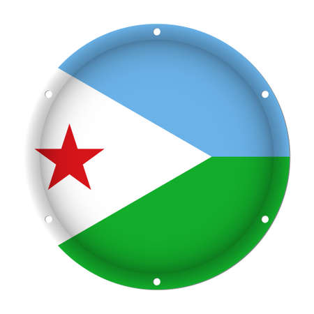 round metallic flag of Djibouti with six screw holes in front of a white background