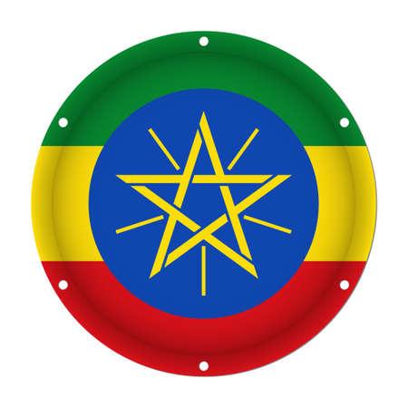 national flag ethiopia: round metallic flag of Ethiopia with six screw holes in front of a white background