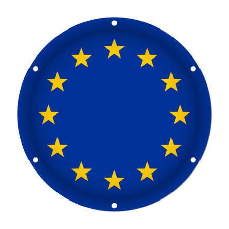 round metallic flag of European Union with six screw holes in front of a white background