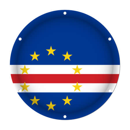 round metallic flag of Cape Verde with six screw holes in front of a white background