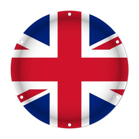 白い背景の前に六つのネジ穴とイギリスの丸い金属の旗